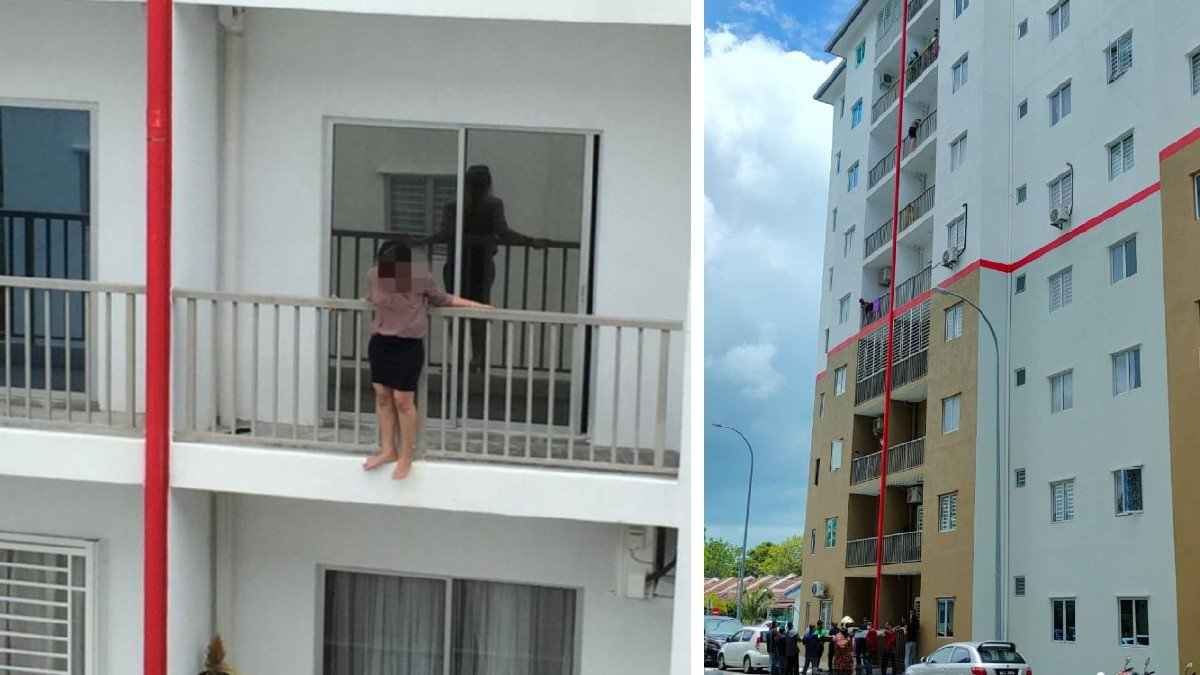 TINDAKAN wanita yang ingin cuba terjun berdiri di balkoni di tingkat enam. FOTO ihsan pembaca