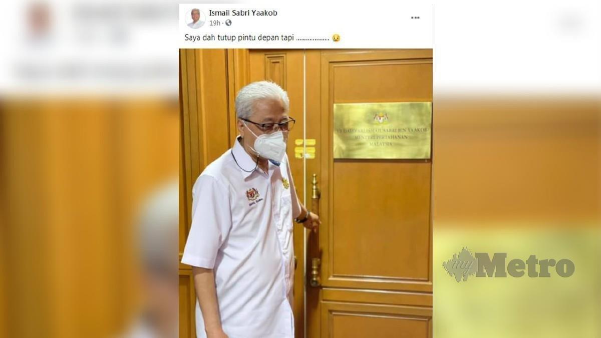 GAMBAR dan kapsyen Ismail Sabri di FB yang menjadi mengundang pelbagai andaian. FOTO FB Ismail Sabri Yaakob