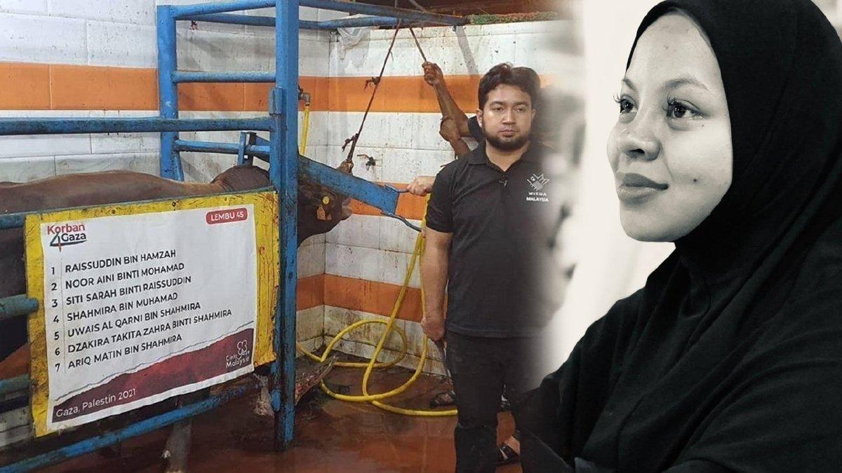NAMA untuk tujuh bahagian lembu ibadah korban Siti Sarah di Gaza iaitu bapanya, Allahyarham ibunya, suaminya, tiga anak mereka serta Siti Sarah sendiri.